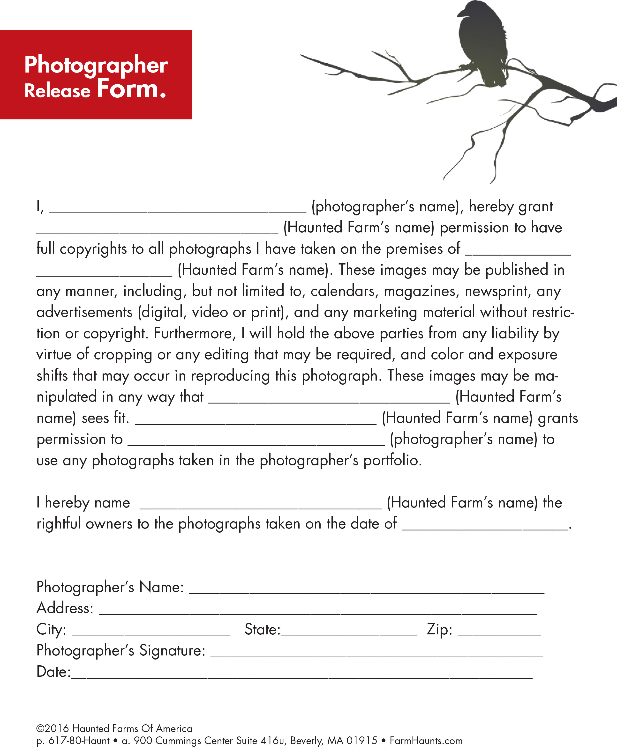 This Photographer Release Form helps protect your images from unauthorized use by the hired photographer.